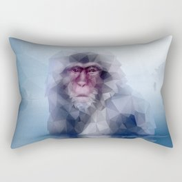 Macaque (Low Poly Ice Snow Monkey) Rectangular Pillow
