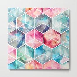 Translucent Watercolor Hexagon Cubes Metal Print