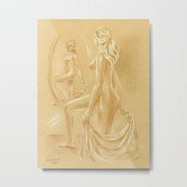 Nude at the Mirror Metal Print