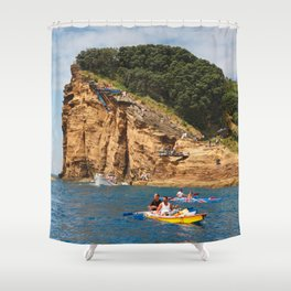 Cliff diving and kayaks Shower Curtain