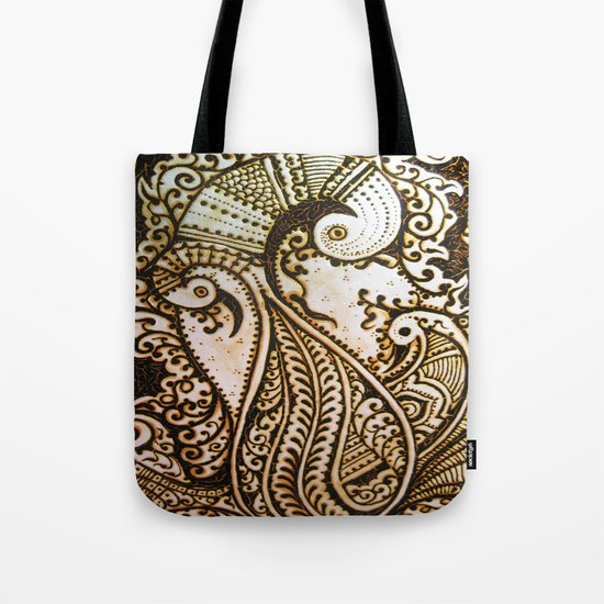 Peacock Passion Detailed In Henna Tote Bag