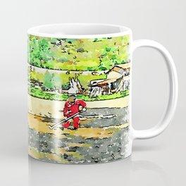 Hortus Conclusus: peasants at work in the plowed field Coffee Mug