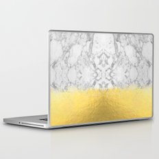 Marble with Brushed Gold - Gold foil, gold, marble, black and white, trendy, luxe, gold phone Laptop & iPad Skin