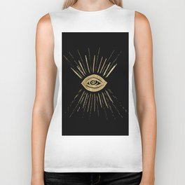 Evil Eye Gold on Black #1 #drawing #decor #art #society6 Biker Tank