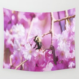 Pink Weeping Willow With Bumble Bee Wall Tapestry