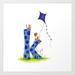 k is for kite Art Print