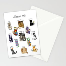 Science cats. History of great discoveries. Schrödinger cat, Einstein. Physics, chemistry etc Stationery Cards