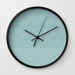 Warm , gray turquoise solid pattern . Wall Clock
