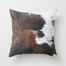 Faux fur, rustic cow hide detail Throw Pillow