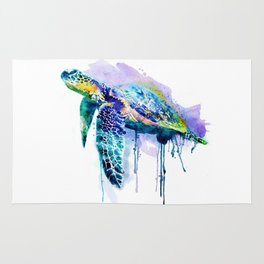 Watercolor Sea Turtle Rug