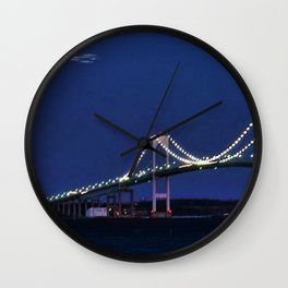 Full Moon and the Newport Bridge at Twilight- Newport, Rhode Island Wall Clock