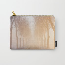 Road through foggy winter polder landscape in The Netherlands, sunrise Carry-All Pouch