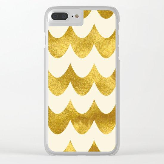 Cream Gold Foil 04 Clear iPhone Case