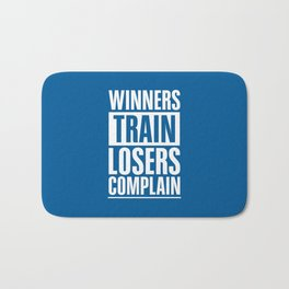 Lab No. 4 - Winners Train Losers Complain Inspirational Quotes poster Bath Mat