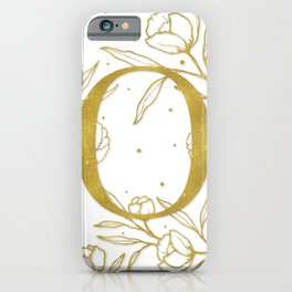 Letter O Gold Monogram / Initial Botanical Illustration iPhone Case