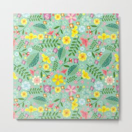 Colorful yellow pink green tropical floral pattern Metal Print