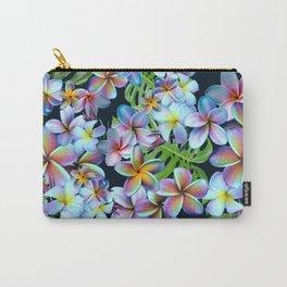 Rainbow Plumeria Dark Carry-All Pouch