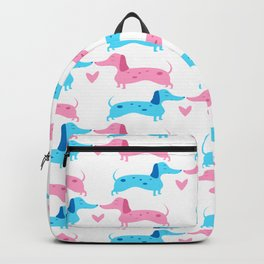 Dapple Dachshunds Love: Pinky and Blue Backpack