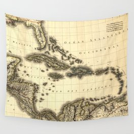 Vintage Map of The Caribbean (1806) Wall Tapestry