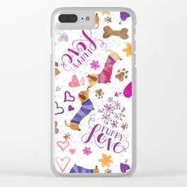 Doxie Puppy Love Pattern Clear iPhone Case