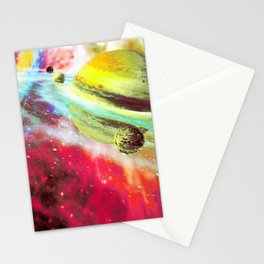 Moons Orbiting Saturn Stationery Cards