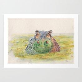 Ink Animals of Africa - Harriet Hippo Art Print