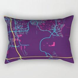 Orlando Neon City Map, Orlando Minimalist City Map Art Print Rectangular Pillow