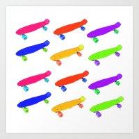skateboard Art Prints featuring Skateboard Pattern by Jaime Cartwright