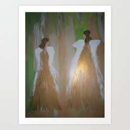 "Angel Painting, ""Sisters...Going Home"" Art Print"