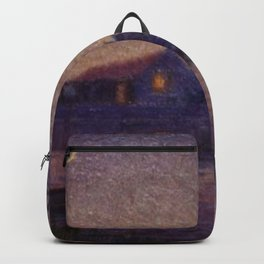 Moonlight Lagoon tropical landscape painting by Anna Woodward Backpack