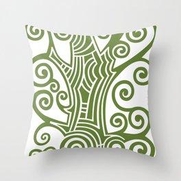 Decorative green scroll tree Throw Pillow