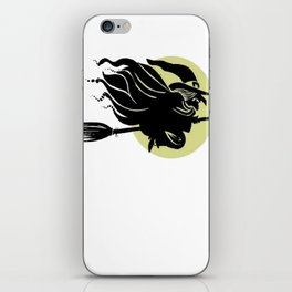 Flying Witch On Broomstick With A Big Moon iPhone Skin