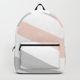 Modern blush pink gray geometric chevron Backpack