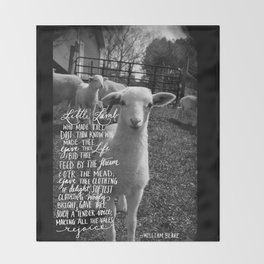 "William Blake's ""The Lamb"" -outside Throw Blanket"