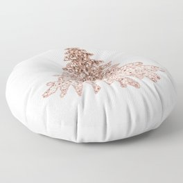 Sparkling christmas tree rose gold ombre Floor Pillow