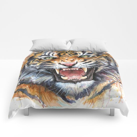 Tiger Watercolor Wild Animal Jungle Animals Comforters