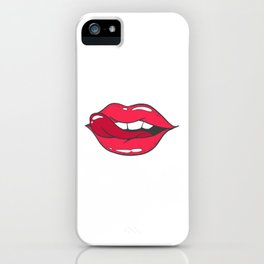 Funny Mouth Licks Lip With Tongue iPhone Case