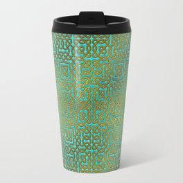 Golden Embossed Celtic Pattern on teal wood Travel Mug