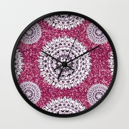 Pink Glitter and Pearl White Patterned Mandala Textile Wall Clock