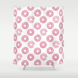 Pink watercolor donut pattern Shower Curtain