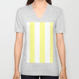 Wide Vertical Stripes - White and Pastel Yellow Unisex V-Neck