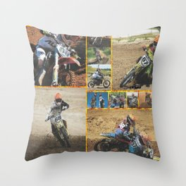 Motocross Collage Throw Pillow