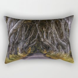 Dark Hedges alley on a sunny day Rectangular Pillow