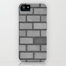Brick wall black and white iPhone Case