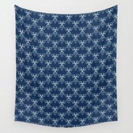 Indigo Blue Sashiko Hand Drawn Japanese Style Wall Tapestry