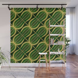 Gold Foil Shamrock Green Peanut Green on Black Wall Mural