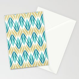 Mid Century Modern Abstract Floral Pattern in Turquoise Teal Aqua and Marigold Stationery Cards