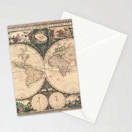 Vintage World Art Map Stationery Cards