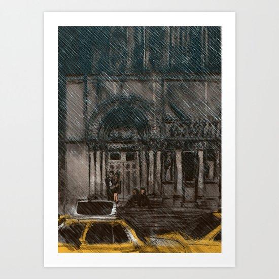 New York in the Rain Art Print