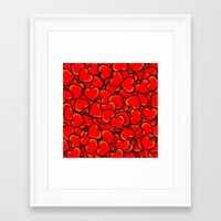 hearts Framed Art Prints featuring Heart by 10813 Apparel
